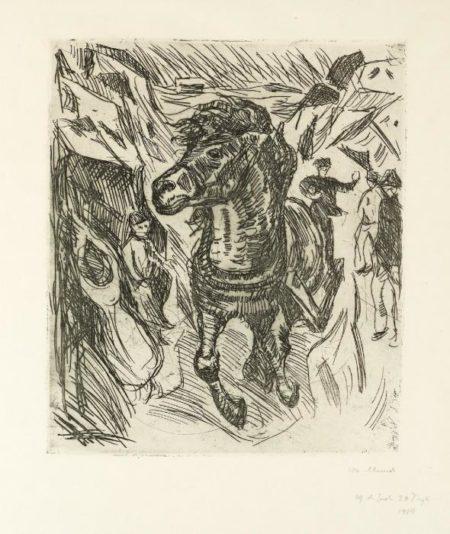 Edvard Munch-Galloping Horse / Galoperende hest / Galoppierendes Pferd-1915