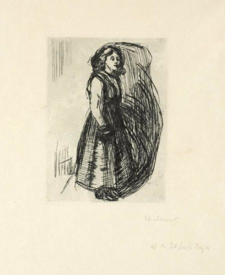 Edvard Munch-Young Woman Standing / Staende ung Kvinne / Stehende junge Frau-1915