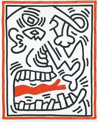 Keith Haring - One Plate, from Three Lithographs-1985