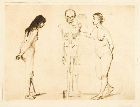 Edvard Munch-Die Beiden Madchen und das Gerippe / Kvinnene ved skjelettet / The Women and the Skeleton (Schiefler 44, Willoch 36, Woll 51)-1896
