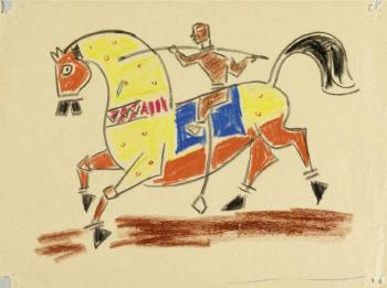 Maqbool Fida Husain-Pferd und Reiter-1950