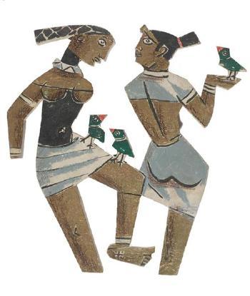 Maqbool Fida Husain-Zwei Figurengruppen-