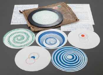Marcel Duchamp-Rotoreliefs: (i) Corolles (Lampe); (ii) Oeuf a la coque (Lanterne chinoise); (iii) Poisson japonais (Escargot); (iv) Verre Boheme (Cerceaux); (v) Montgolfiere (Cage); (vi) Eclipse totale (Spirale blanche)-1935
