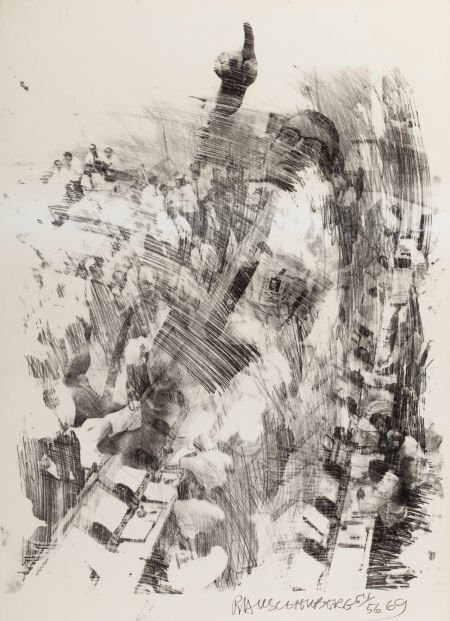 Robert Rauschenberg-Robert Rauschenberg - Horn and Sky Rite (from the Stoned Moon series)-1969