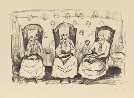 Edvard Munch-Drei Alte Damen / Tre Gamle Damer / Three Old Ladies-1922