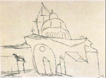 Paul Klee-Kirche Mit Dem Lowendenkmal (Church With Lion Monument)-1912