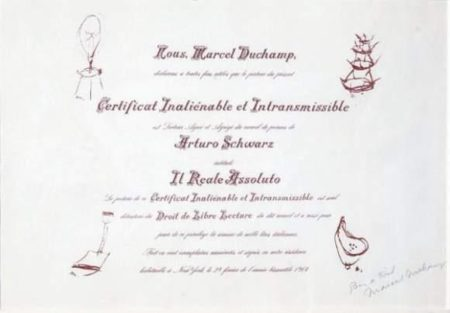 Marcel Duchamp-Certificat de lecture-1964