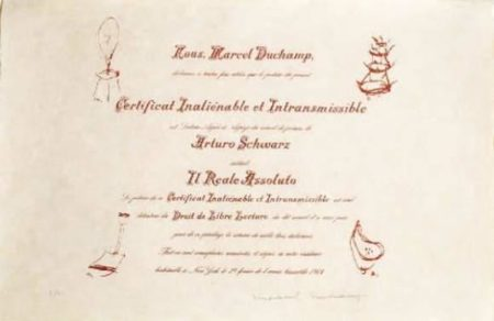 Marcel Duchamp-Certificat De lecture (Il Reale Assoluto, Schwarz, 592)-1964