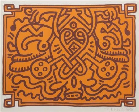 Keith Haring-Keith Haring - Chocolate Buddha V (Orange)-1989