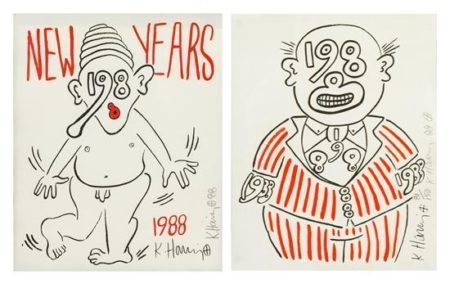 Keith Haring-Keith Haring - New Year's Invitation-1988