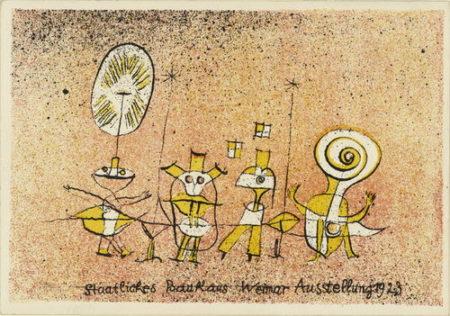 Paul Klee-Postkarte Zur Bauhaus Ausstellung 'Die heitere Seite' (Postcard For Bauhaus Exhibition 'The Bright Side')-1923