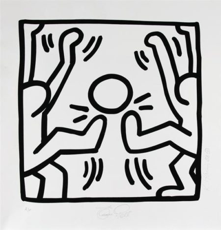 Keith Haring-Keith Haring - Untitled (Soccer 'Pele come dois jugadores')-1988