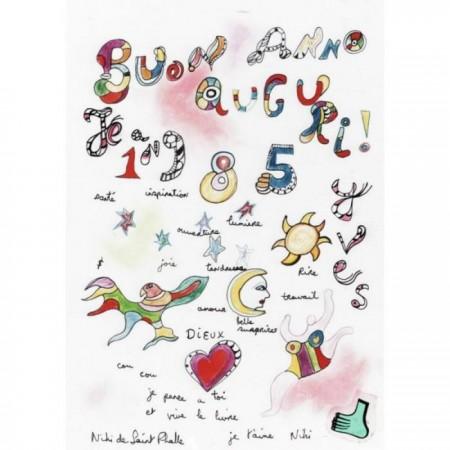 Niki de Saint Phalle-Nana et soleil, (Buon anno auguri)-1985