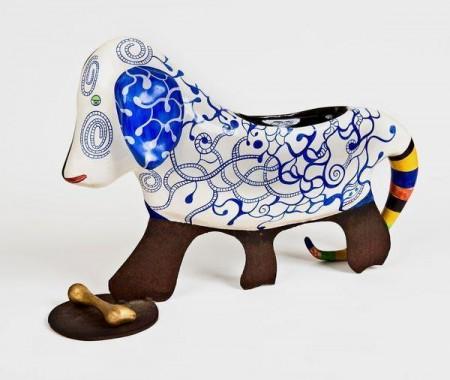 Niki de Saint Phalle-Chien (Basset et son os), (Niki De Saint-Phalle - Le chien)-1992
