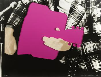 John Baldessari-Person with Guitar (Pink)-2005