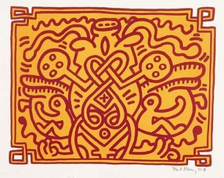 Keith Haring-Keith Haring - Chocolate Buddha: Four Plates-1989