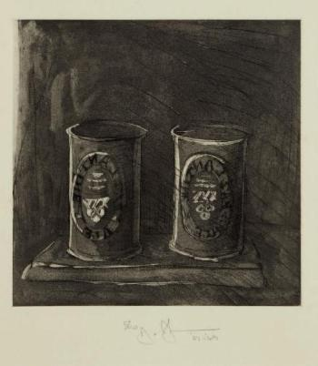 Jasper Johns-First Etchings Second state: Ale Cans-1969