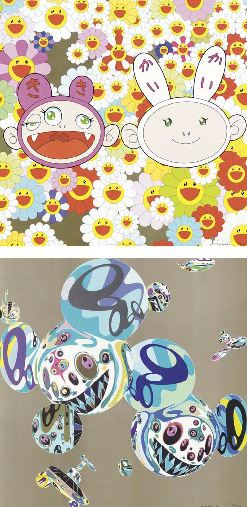 Takashi Murakami-A Master Mushroom with DOB in The Forest; Into the Dream [Jumbo Corn Head Mushroom]; And then and then and then and then and then [Blue]; And then and then and then and then and then [Red]; DOB Flower; Doves and hawks; Flower; Genki ball; HIROPON; Here Comes Media; Jelly fish eyes; Kaikaikiki news; KAMIUCHIMAKI; Moon; Mushroom Bomb PINK; My Lonesome Cowboy; PARA-KITI DOB; Red Rope; Reversal D.N.A; Snow-