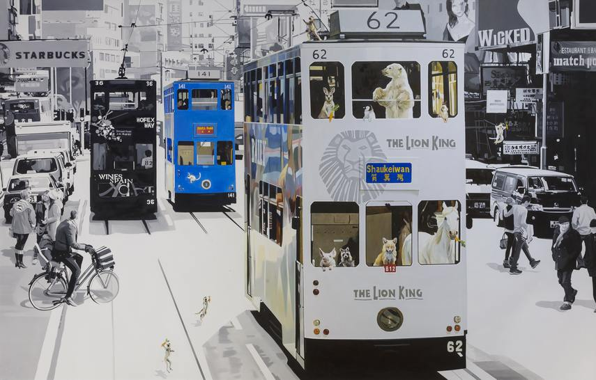 A8 Link Gallery, Jwong Seong Joon, Cavin and Adam's Hong Kong Adventure, 227 x 145cm,Oil on canvas, 2016