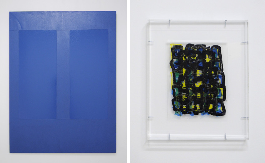 Aaron Bobrow - Permanent Makeup, 2015 (Left) - Untitled Access Drawing #7, 2015 (Right), image courtesy of Halsey McKay Gallery