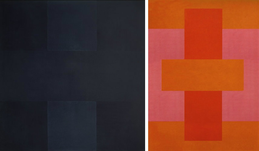 Ad Reinhardt - Abstract Painting, 1960, photo via art-agenda.com (Left) - Red Abstract, 1952, photo via quotesgram.com painters works moma