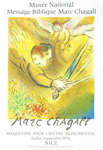 After Marc Chagall - Four Colour Lithographic Posters (L'Ange du jugement - Maquettes pour l'oeuvre monumental, Peintures Bibliques recentes, L'Artiste Phenix - Galerie Maeght, Le Cirque au clown jaune - Borstahusens Konstforening-1977