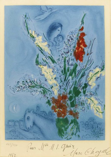 Marc Chagall-After Marc Chagall - The Gladioli-1965