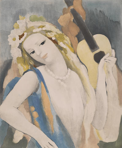 Marie Laurencin-After Marie Laurencin - Femme a la Guitare-1936