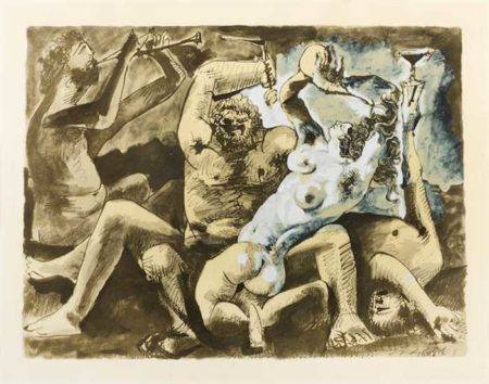 Pablo Picasso-After Pablo Picasso - Bacchanale II-1955