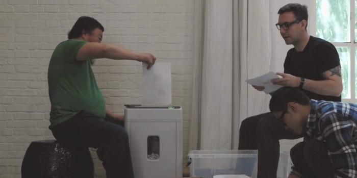 Ai Weiwei and Jacob Appelbaum working on Panda to Panda project, 2015