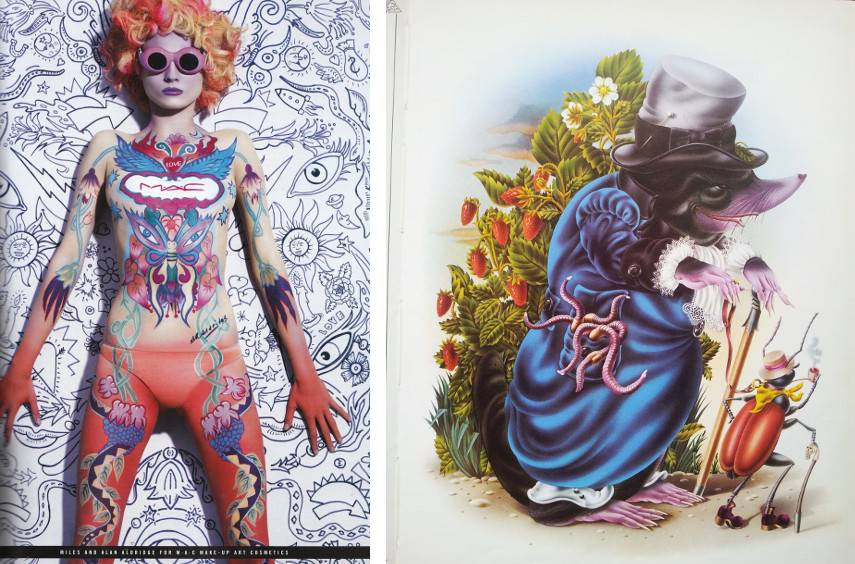 Alan Aldridge - MAC Makeup Art Spring Summer, 2011 (Left) ----- The Butterfly Ball and the Grasshopper's Feast, 1973 (Right) - Images via art8ambycom and madebymothereaglecom