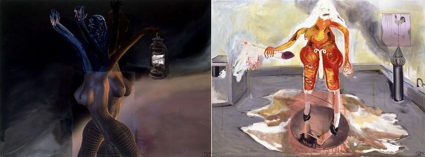 Albert Oehlen works use kippenberger untitled oil work in german max hetzler galerie hamburg, gagosian museum berlin
