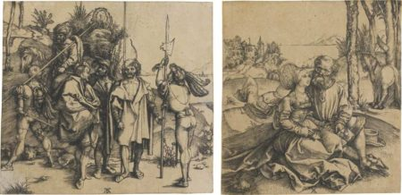 Albrecht Durer-Five Soldiers And A Turk On Horseback; And The Ill-Assorted Couple-1496