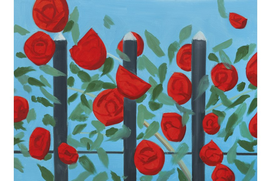 For original Alex Katz acrylic flower paintings visit his Facebook page