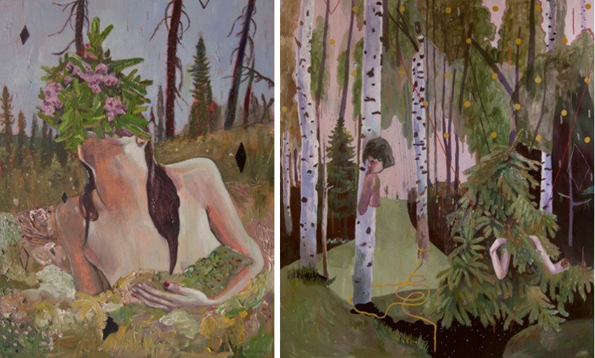 Alexandra Levasseur - La Tourbiere, 2015 (Left) / 10 + 1 Dimensions, 2015 (Right) prints