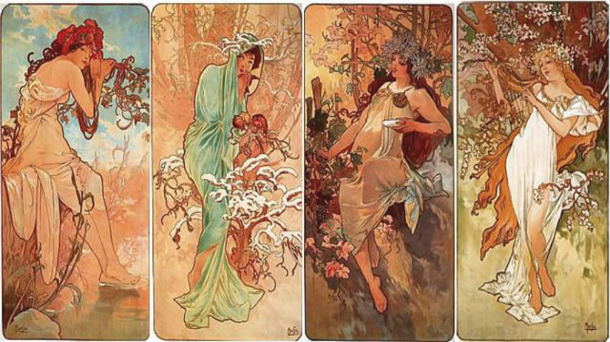 Alphonse Mucha - Four Seasons, 1896, Image copyright of Alphonse Mucha Estate-Artists Rights Society