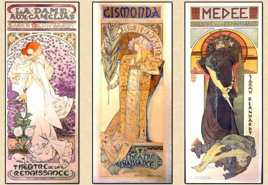 Alphonse Mucha - Posters of Sarah Bernardt, Image via blogcouleurnaturecom print