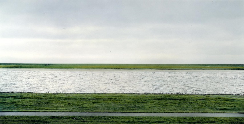 Andreas Gursky's film , The Rhine II, 1999, analog film . Image via tate.org.uk