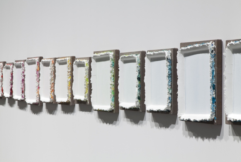 Andrew Dadson - Re-stretched and Re-framed, 2014, (detail), installation view, Art Basel, 2014, photo courtesy of David Kordansky Gallery, abstract art, monochrome painting