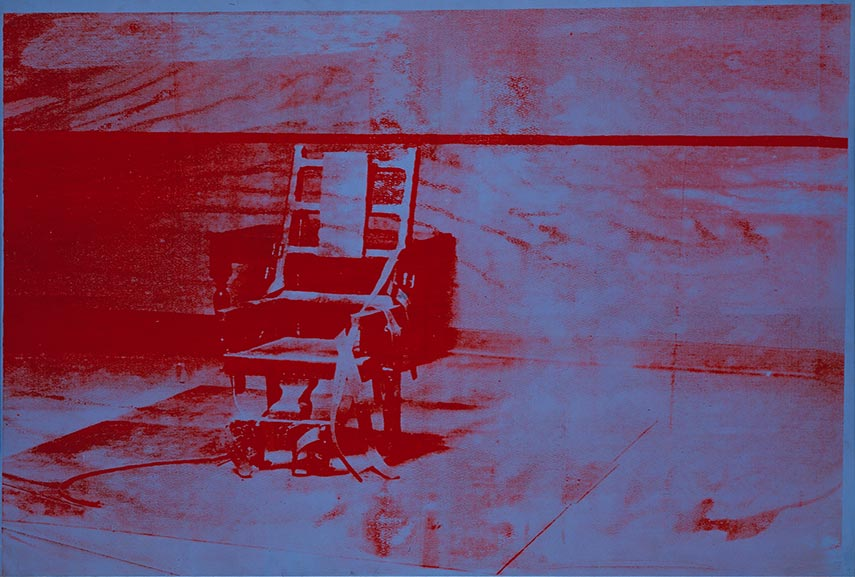 Andy Warhol – Big Electric Chair. Image via letsexploreartcom plate paper process