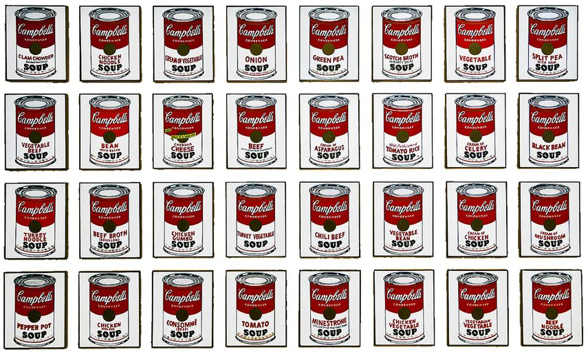 Andy Warhol - 32 Campbell's Soup Cans, via forbes com