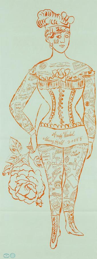 Andy Warhol-Tattooed Woman Holding Rose-1955