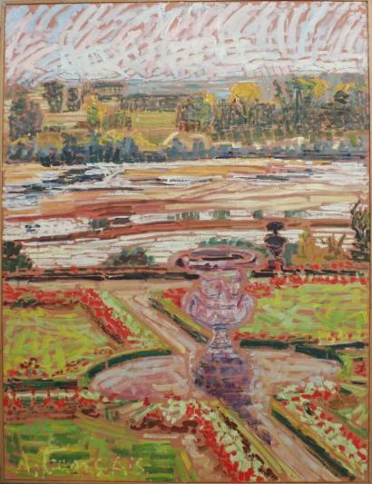 Anne Francais-Vase de Pigalle et premice d'automne, Chateau de Menars-