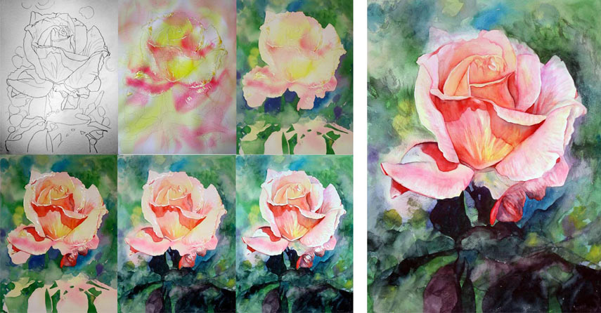 Watercolor techniques for a perfect painting result for How to paint a rose in watercolor step by step