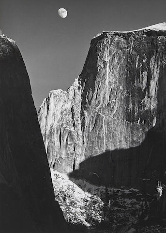 Ansel Adams-Moon and Half Dome, Yosemite National Park, California-1960