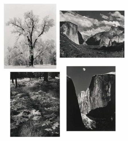 Ansel Adams-Selected Images Of Yosemite (Valley View, Oak Tree Snowstorm, Half Dome Moon, and Ferns)-1960