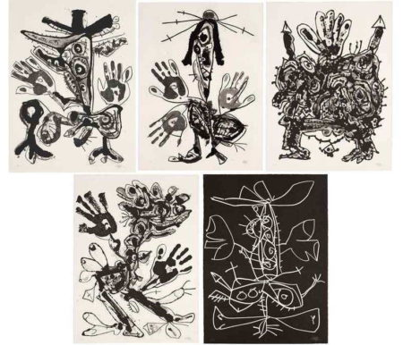 Antonio Saura-Novisaurias (The Complete Set of Five Aquatints)-1969