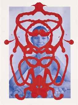 Asher Penn-Kate Moss Rorschach (Red on Blue)-2013