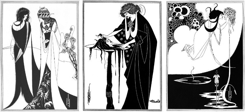 Aubrey Beardsley - John the Baptizer and Salome (Left) - The Dancers Reward (Center) - The Climax (Right), pictures via wikipediaorg new