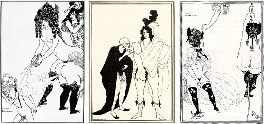Aubrey Beardsley - Lysistrata Defending the Acropolis (Left) - Exhamination of the Herald (Center) - Athenians in Distress (Right), images via beardsleyartpassionsnet new